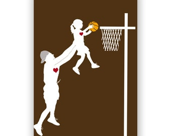 Father's day Gift Guide - Father and daughter playing basketball, Fine art print, silhouette, wall decor, Fathers Day