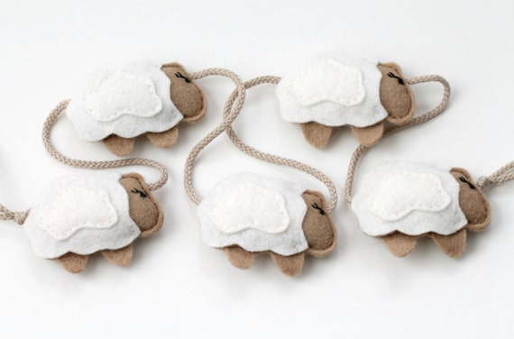 SALE Sheep Nursery Garland Banner, Soft Felt Lamb Bunting, Modern Wall Mobile Counting Sheep Brown, Handmade by OrdinaryMommy on Etsy
