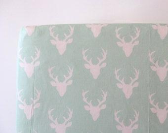Woodland Crib Sheet in Mint Deer Buck - Buck Forest in Mint Ready to Ship