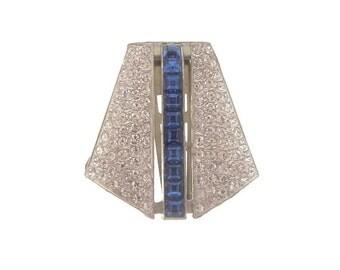 Sapphire Art Deco Brooch, Vintage French Crystal Rhinestone Dress Clip, 1920s Art Deco Jewelry, Wedding Jewelry