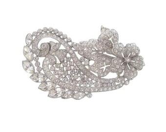 Antique Art Nouveau Brooch, Original 1900 Fine Vintage Jewelry, Statement Wedding Jewelry,  Bridal Rhinestone Brooch
