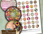 Boho Chic Digital Collage Sheet 1 inch size Printable round Images for pendants bezels magnets paper goods - Bohemian Collage Sheet
