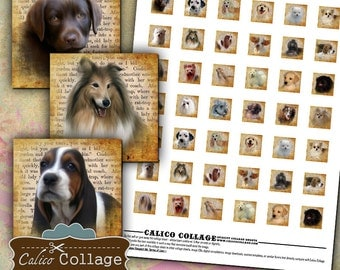 Dog Collage Sheet - Puppy Collage Sheet - Charm Collage Sheet - Vintage Collage Sheet - Jewelry Supply Paper - .85 Charm Size Squares