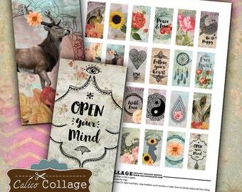 Boho Domino Collage, Boho Collage Sheets, Collage Sheet, 1x2 Domino Collage, Bohemian Images, Domino Collage Sheet, Collage Sheets