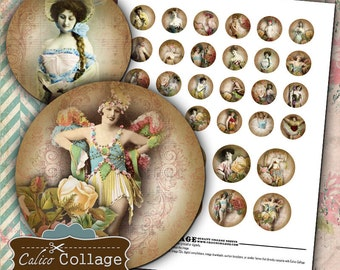 Burlesque and Roses Digital Collage Sheet Printable in 1in and 1.5in Circles for Pendants, Magnets, Jewelry, Decoupage, Paper Crafts
