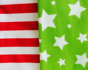 Red stripes and lime stars 1 yard bundle total of 2 yards