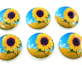 "6  Sunflower Buttons.  LARGE Sewing Buttons. 1"" or 25 mm Round.  Handmade By Me. Washer and Dryer Safe."