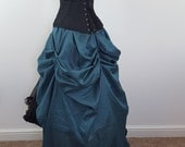 Deep Teal Floor Length Cabaret Tie On Bustle Skirt-One Size Fits All