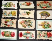 12 Victorian Calling Cards -  with Beautiful Die Cut Scraps - Hands and Flowers
