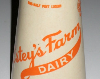 Vintage (1930s-1940s) Waxed Cardboard Half Pint Milk Container -   Estey's Dairy Farm, Springfield, Vermont