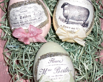 3 Shabby Chic Cottage Paper Mache  Easter Eggs with French Themed Graphics, Glitter and Bows