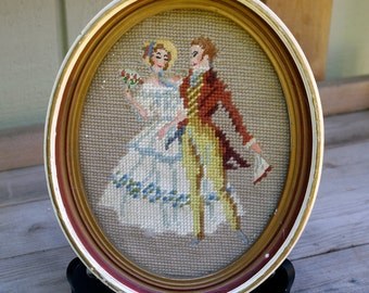 Framed Needlepoint Victorian Couple