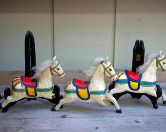 Hand Painted Wood Carousel  Horses, Set of 3