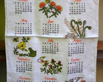 Vintage Tea Towel Calendar Year 1981