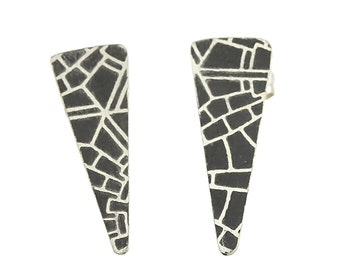 Mod Texture Triangle Sterling Silver Earring Studs