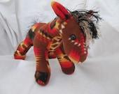 Navajo blanket horse, brown fire, pendleton inspired, stuffed animal, plush, plushie, pendleton blanket, native indian, stuffed horse