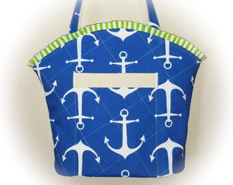 FREE Shipping USA Canada - J Castle Designer Boutique Bag - Anchors Nautical Boat Canvas Water Resistant Designer Fabric - (Ready to Ship)