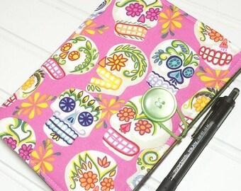 SUMMER SALE - Mini Shopper - Notepad holder List taker - Sugar Skulls