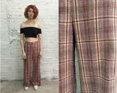 70s plaid wool bellbottoms / pink and red tartan flare wide leg bell bottoms