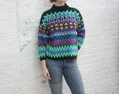 Valentine SALE 80s chunky fairisle sweater / fair isle sweater / turtleneck / folkloric sweater mock neck oversize
