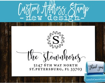 Custom Return Address Stamp - Custom Calligraphy Stamp - Handwriting Script - Personalized SELF INKING Wedding Stationery Stamper - (176)