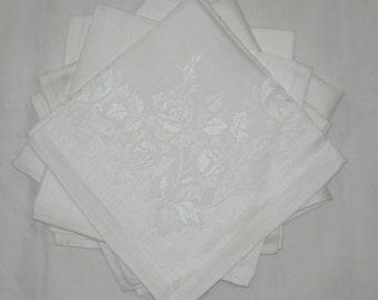 Vintage White Damask Napkins Set of 6 Roses MWT