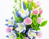 Columbine, Lily of the Valley and Roses, English Cottage Garden Miniature Polymer Clay Flowers 1 piece