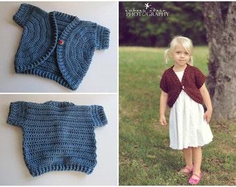 Little Girl's Blue Shrug, Shortie Sweater, Crochet Spring Shrug, Toddler's Denim Blue Bolero, Size: Fits most little girls 2 to 3 years old