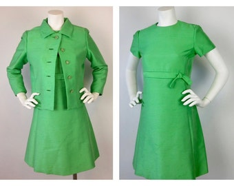 Vintage 60s Emerald Green Silk Dress and Matching Jacket, Sz S