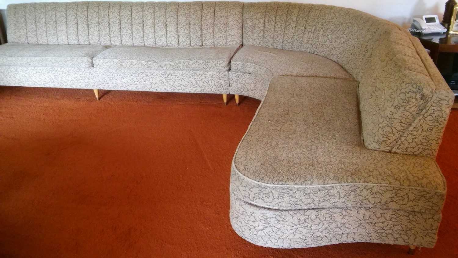 Mcm 3pc sectional sofa cool 6039s serpentine sectional for 60s sectional sofa