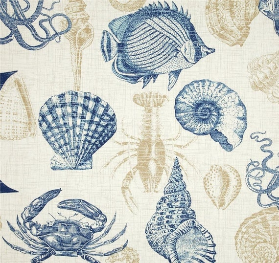Sea life shower curtain sea shell shower curtain blue bathroom