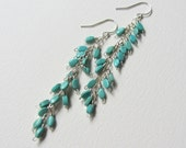 Wire Wrapped Long Turquoise Earrings - Sterling Silver Jewelry Handmade in Seattle