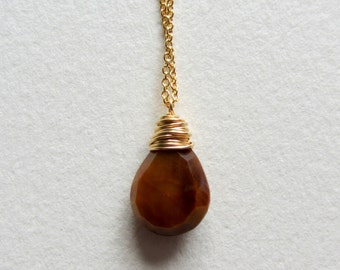 Tiger Eye Necklace Gold Filled - Wire Wrapped Jewelry