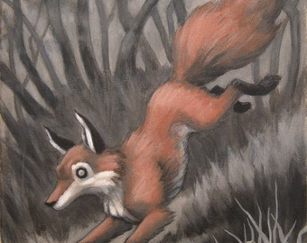 "The Quick Red Fox painting, original acrylic and pencil on canvas, by Eden Bachelder, 14"" x 11"""