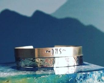 Cuff Bracelet SET, TWO bracelet set, sterling silver cuff bangles, monogram cuff bracelet, hammered cuff bracelet, iniital bracelet, otis b