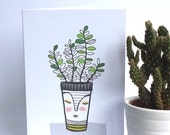 Potted Plant card , house plant card , cacti card , new house card , happy birthday, just to say ... , retro ,thank you ,fathers day