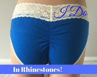 Medium - Personalized BRIDE Rhinestone Bridal Panties - Bride Blue Undie lacey bum - Bling underwear Size MEDIUM - Ships in 24hrs