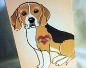 Custom Beagle Tattoo Greeting Card