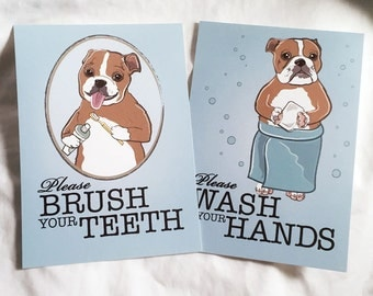 Bulldog Bathroom Prints - 5x7 Eco-friendly Pair