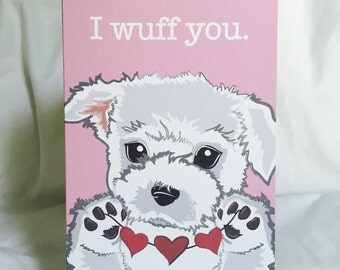 Wuff You White Puppy Greeting Card