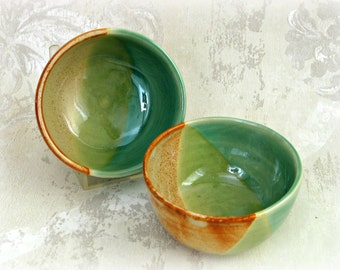 Pair  Prep/Dip Bowls in Speckled Beige and Greens with Rust