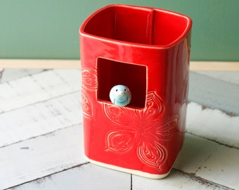 Square Vase with bird red and aqua