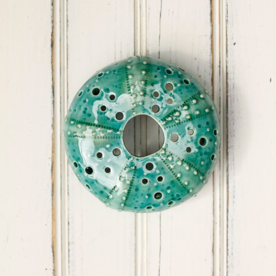 small urchin wall hanging, urchin tabletop sculpture, teal