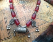 Collectible rare Original Ethiopian cherry amber necklace with prayer box
