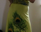 Fly long dress African wax print peacock feather design olive greens tie dyed empire  line handpainted dress sz medium