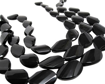 Onyx Beads, 20mm x 30mm, Black Onyx, Luxe AAA, Faceted Oval, Onyx Beads, SKU 4059A