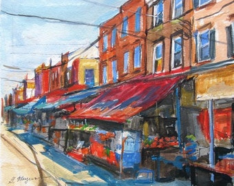 Philadelphia Art Painting 9th Street Italian Market South Philly Fine Art  Print  from Watercolor Red  and Blue Painting by Gwen Meyerson
