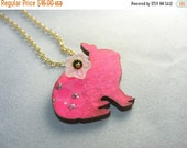 Rabbit necklace ...  wood bunny pendant in hot pink with purple stripes and glass flower ... hop happy