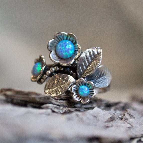 Sterling silver ring, leaf ring, flowers ring, gemstones ring, tiny opals ring, floral ring, casual ring, blue ring - Blue grass R1696-1