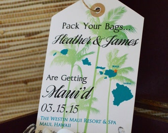 Hawaii Save the Date.  Hawaii Luggage Tag Save the Date.